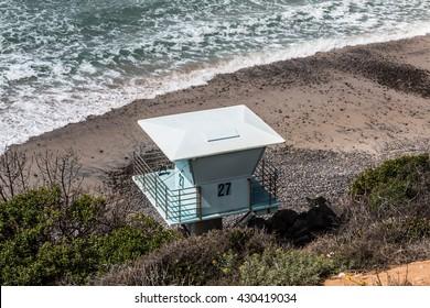 Lifeguard tower at South Carlsbad State Beach in Carlsbad, California.