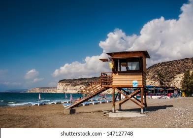 Lifeguard tower in a sunny day, Kourio Beach, Cyprus