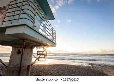 Lifeguard tower at sunset on beautiful sunny day