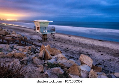 Lifeguard tower at Torrey Pines State Beach San Diego near La Jolla night photo ocean seascape
