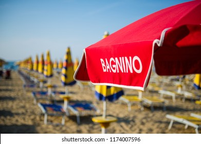 Lifeguard umbrella on a beach in Jesolo, Italy