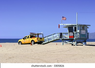 Lifeguard Vehicle And Tower On Los Angeles Beach
