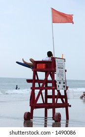 Lifeguard watching Surfers & Swimmers