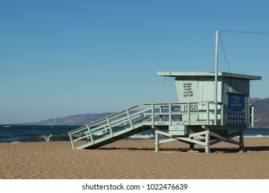 Lifegueard Rescue Post in Santa Monica, USA.