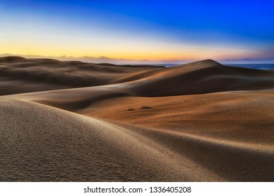 Lifeless endless sand dunes desert on shores of Pacific ocean - Stockton beach. early sunrise morning light in cold blue sky shining on untouched surface of the land.