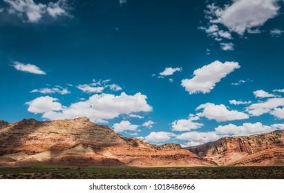 Lifeless rocks and blue sky. Arid Arizona