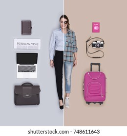 Lifelike female dolls comparison and accessories: corporate businesswoman and traveler, flat lay