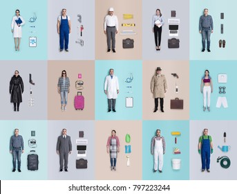 Lifelike male and female human dolls collection with different outfits and accessories, professional occupations and leisure activities, flat lay