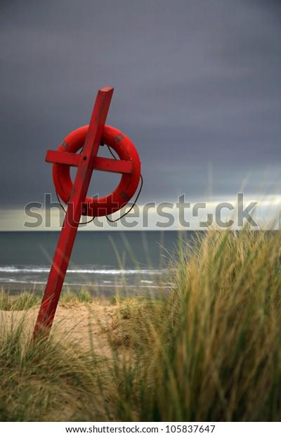 Lifesaver on Bamburgh beach Northumberland