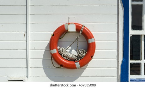 Lifesaver on the wooden wall