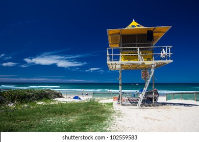 Lifesaver patrol tower on the Gold Coast, Queensland, Australia
