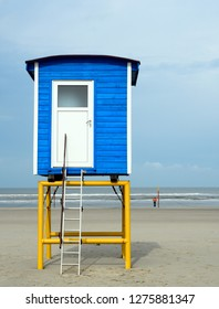 Lifesaver tower on the sand beach of the nordfriesischen island Langeoog in Germany