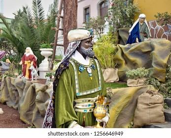Life-size crib figure in the magnificent green velvet robe, the Holy King Kaspar ,one of the three holy kings,was the king of Tharis and the island of Egryskulla and dressed in green and wore the myrr