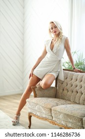 Lifestyle. Blond woman at home