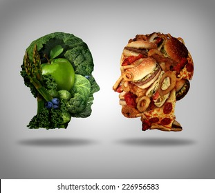 Lifestyle choice and dilemma concept as a two human faces one made of fresh green vegetables and fruit and the other head shaped with greasy fast food and fried foods as a symbol of nutrition.