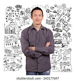 Lifestyle concept, sketch background with family, love, job, hobbies, sport and with man smiling, looking on camera, with folded hands
