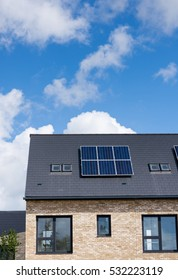 Lifestyle Editorial Image.6 July 2016 London, England Domestic solar panels on the roof of new housing