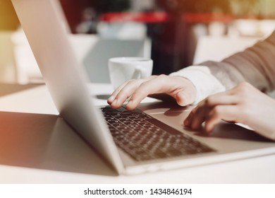 Lifestyle education student. Businessman work on laptop for project. Millennial at home office looking for job on notebook. Unrecognizable man using modern portable computer.