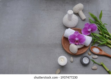 Lifestyle and Healthy Concept. Spa setting for massage treatment on gray background