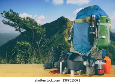 Lifestyle hiking camping equipment. Travel equipment for a mountain trip