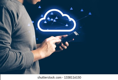 lifestyle hipster people businessman and technology data smartphone use to touch on screen for social network cyber internet with ui information media icon, ai robotic, deep learning, cloud storage