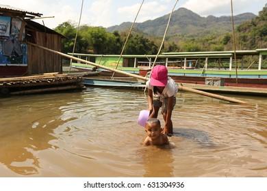 Lifestyle of Laos's people Luang prabang,Laos 15 April 2017