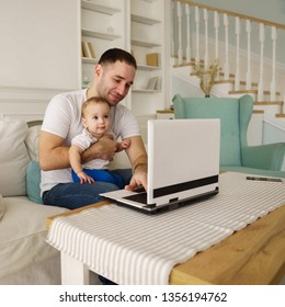 lifestyle of modern business father. young man babysitting working overtime at home office. daily routine of hardworking people.