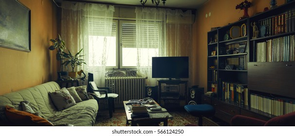 Lifestyle of an older people, interior of a living room with lot of books, old furniture and some audio equipment.