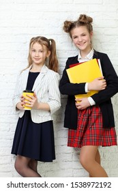 lifestyle people concept: two pretty young school teenage girls having fun happy smiling