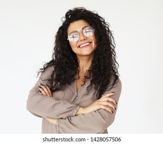 lifestyle and people concept - young smiling african woman wearing eyeglasses and casual clothes over white background