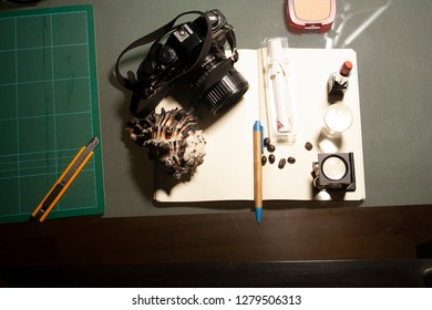 Lifestyle and photographic materials in female, camera, thread count, makeup, nail seal, cutting blade, cutting board, perfume and lipstick.