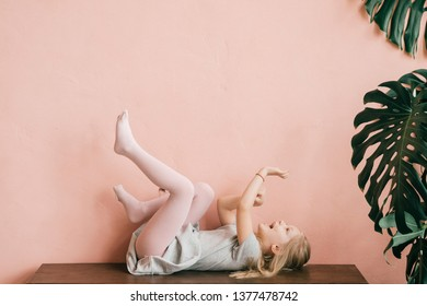 Girl with legs open