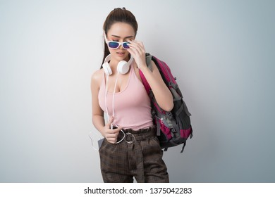 Lifestyle traveler asian girl with backpack