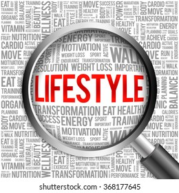 LIFESTYLE word cloud with magnifying glass, health concept