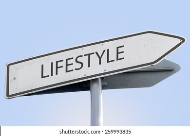 LIFESTYLE word on road sign