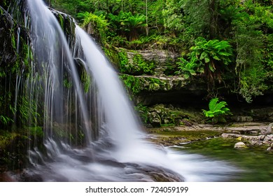 The Liffey Falls, a series of four distinct tiered cascade waterfalls on the Liffey River, is located in the Midlands region of Tasmania, Australia.