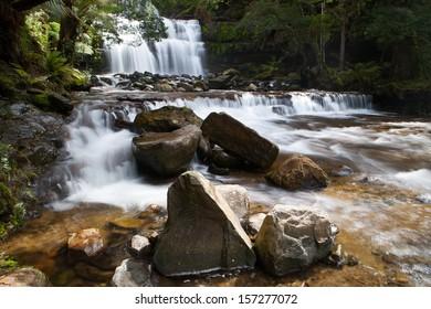 Liffey Falls in Liffey Falls State Reserve on a cold winter's morning in Tasmania, Australia