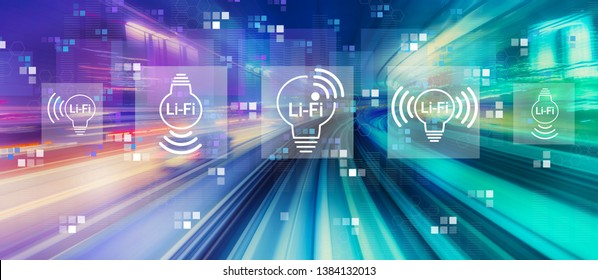 LiFi theme with abstract high speed technology POV motion blur