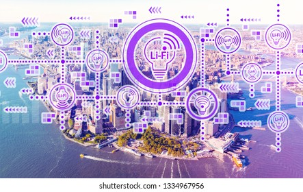 LiFi theme with aerial view of Manhattan, NY skyline