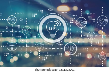 LiFi theme with blurred city abstract lights background