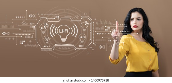 LiFi theme with business woman on a brown background