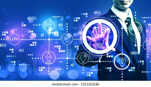 LiFi theme with businessman on blurred blue light background
