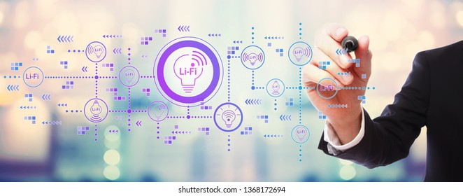 LiFi theme with businessman on blurred abstract background