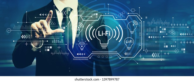 LiFi theme with businessman on a dark blue background
