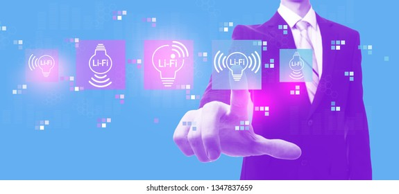 LiFi theme with businessman in a purple and blue duotone