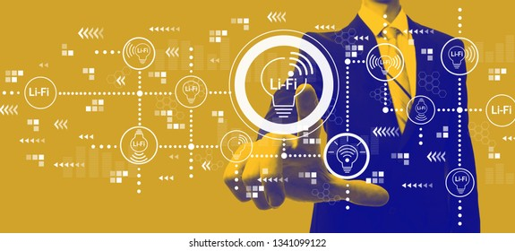 LiFi theme with businessman in a yellow and blue duotone