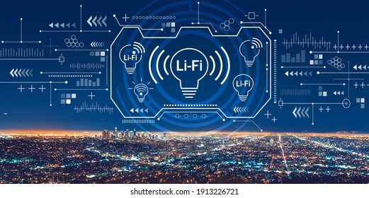 LiFi theme with downtown Los Angeles at night