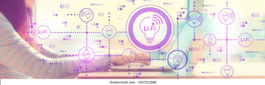 LiFi theme ith woman working on a laptop in brightly lit room