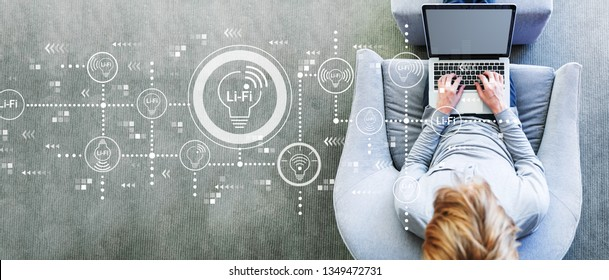 LiFi theme with man using a laptop in a modern gray chair