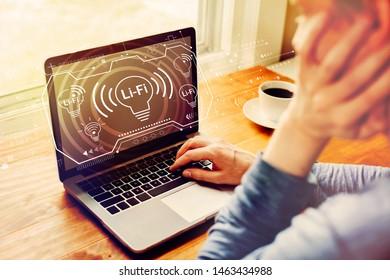 LiFi theme with man using a laptop computer